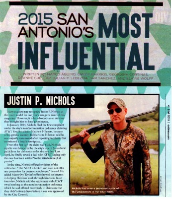 Justin Nichols named one of San Antonio's 2015 Most influential LGBT people by Out-In-SA